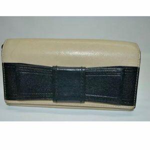Kate Spade Bow Beige Black Leather Flap Wallet